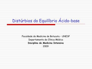 Dist�rbios do Equil�brio �cido-base