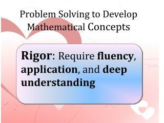 Rigor :  Require  fluency ,  application , and  deep understanding