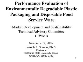Market Development and Sustainability Technical Advisory Committee CIWMB