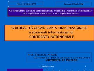 Gli strumenti di contrasto patrimoniale alla criminalit  organizzata transnazionale nella legislazione comunitaria e nel