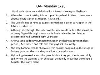 FOA- Monday 1/28