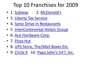 Top 10 Franchises for 2009