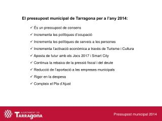 Pressupost municipal 2014