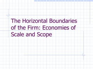 The Horizontal Boundaries  of the Firm: Economies of Scale and Scope