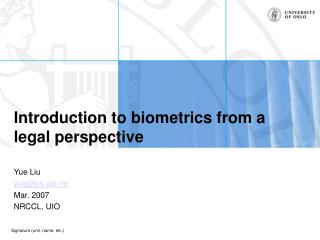 Introduction to biometrics from a legal perspective