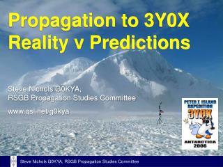 Propagation to 3Y0X Reality v Predictions
