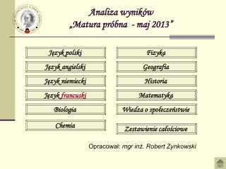 """Analiza wyników  """"Matura próbna  - maj 2013"""""""