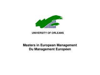 Masters in European Management Du Management Européen