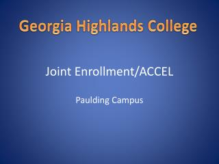 Joint Enrollment/ACCEL