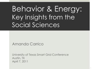 Behavior & Energy: Key Insights from the Social Sciences