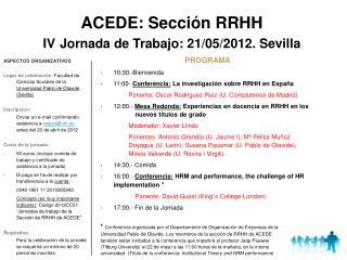 ACEDE: Sección RRHH IV Jornada de Trabajo: 21/05/2012. Sevilla