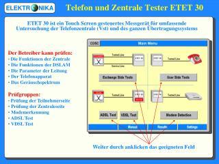Telefon und Zentrale Tester ETET 30