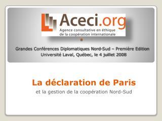 La déclaration de Paris et la gestion de la coopération Nord-Sud