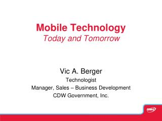 Mobile Technology Today and Tomorrow