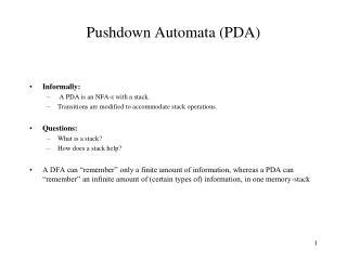 Pushdown Automata PDA