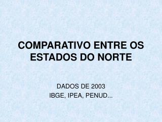 COMPARATIVO ENTRE OS ESTADOS DO NORTE