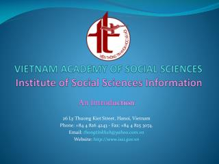 VIETNAM ACADEMY OF SOCIAL SCIENCES Institute of Social Sciences Information