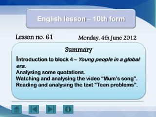 English lesson – 10th form