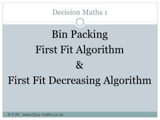 Decision Maths 1