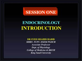 ENDOCRINOLOGY INTRODUCTION