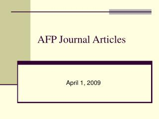 AFP Journal Articles