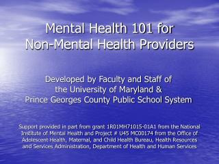 Mental Health 101 for Non-Mental Health Providers CSMH  PGCPS