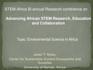 Topic: Environmental Science in Africa