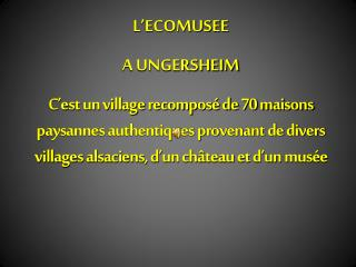 L'ECOMUSEE A UNGERSHEIM