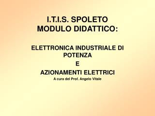 I.T.I.S. SPOLETO MODULO DIDATTICO: