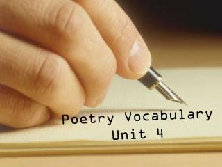 Poetry Vocabulary Unit 4