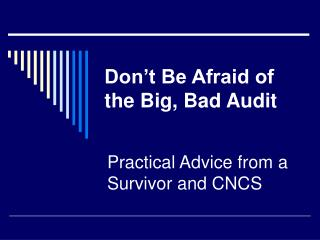 Don t Be Afraid of the Big, Bad Audit