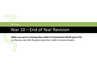 Year  10  �  End of Year Revision