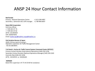 ANSP 24 Hour Contact Information
