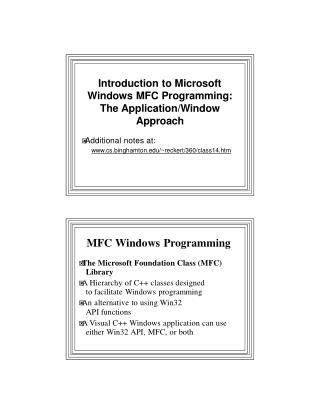 MF C Window s Programming � Th e Microsof t Foundatio n Clas s (MFC) Library