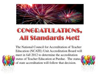 CONGRATULATIONS,   All Standards Met !