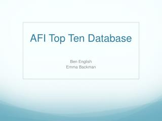 AFI Top Ten Database