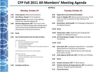 CFP Fall 2011 All-Members' Meeting Agenda