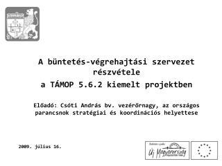 A büntetés-végrehajtási szervezet részvétele  a TÁMOP 5.6.2 kiemelt projektben