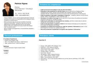 21 ann�es d�exp�rience  Deloitte France depuis 1994