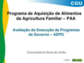 Avaliação da Execução de Programas de Governo – AEPG
