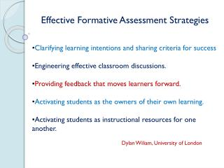 Effective Formative Assessment Strategies