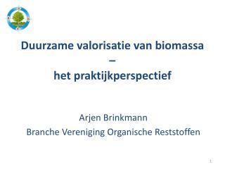 Duurzame valorisatie van biomassa  – het praktijkperspectief
