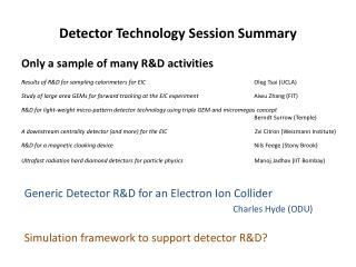 Detector Technology Session Summary