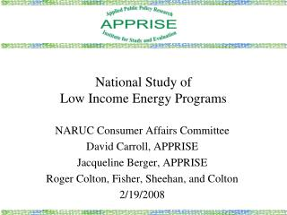 National Study of  Low Income Energy Programs
