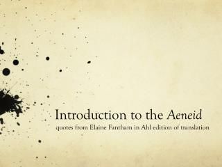 Introduction to the  Aeneid