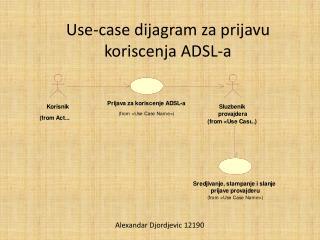 Use-case  dijagram za prijavu koriscenja  ADSL-a