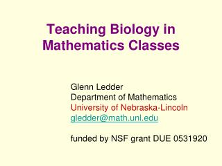 Teaching Biology in Mathematics Classes