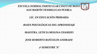 ESCUELA NORMAL PARTICULAR CINCO DE MAYO  SAN  MARTÍN TEXMELUCAN PUEBLA LIC. EN EDUCACIÒN PRIMARIA