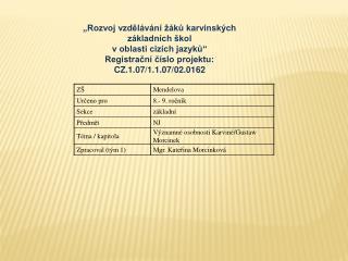 """"""" Rozvoj vzdělávání žáků karvinských základních škol  v oblasti cizích jazyků"""""""