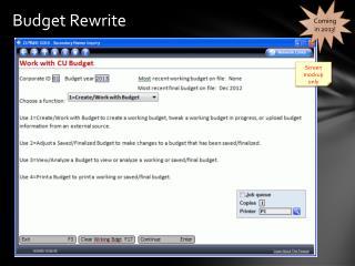 Budget Rewrite